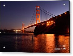 Golden Gate Bridge At Night 2 Acrylic Print by Bob Christopher