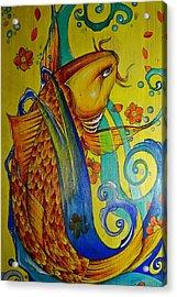 Golden Koi Acrylic Print by Sandro Ramani