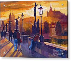 Golden Prague Charles Bridge Sunset Acrylic Print by Yuriy  Shevchuk