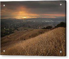 Golden Sunset Over San Francisco Bay Acrylic Print by Sean Duan