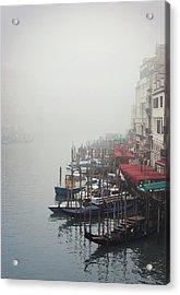 Gondolas On Grand Canal In Fog Acrylic Print by Silvia Sala