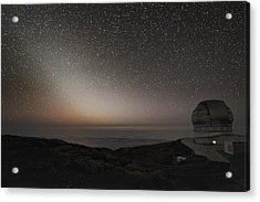 Grantecan Telescope And Zodiacal Light Acrylic Print by Alex Cherney, Terrastro.com