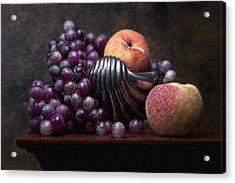 Grapes With Peaches Acrylic Print by Tom Mc Nemar