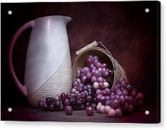Grapes With Pitcher Still Life Acrylic Print by Tom Mc Nemar