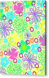 Graphic Flowers Acrylic Print by Louisa Knight