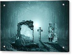 Graves In A Forest Acrylic Print by Jaroslaw Grudzinski