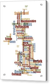 Great Britain Uk County Text Map Acrylic Print by Michael Tompsett