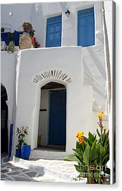 Greek Doorway Acrylic Print by Jane Rix