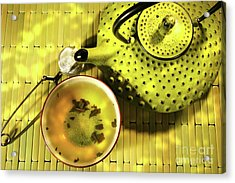 Green Asian Teapot With Cup  Acrylic Print by Sandra Cunningham