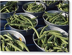 Green Beans In Tin Buckets For Sale Acrylic Print by David Evans