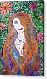 Green Eyed Girl Acrylic Print by Jo Claire Hall