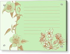 Green Floral Card Acrylic Print by Dana Vogel