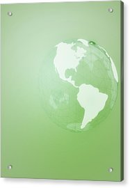 Green Globe Of The Americas Acrylic Print by Jason Reed