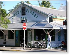 Green Parrot Bar In Key West Acrylic Print by Susanne Van Hulst