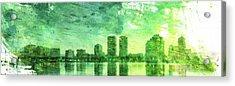 Green Skyline Acrylic Print by Andrea Barbieri