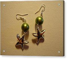 Green Starfish Earrings Acrylic Print by Jenna Green