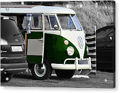 Green Vw Camper Acrylic Print by Paul Howarth