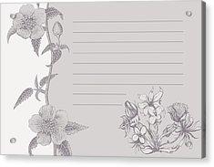 Grey Floral Card Acrylic Print by Dana Vogel