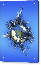 Grey Goo Engulfing Earth, Artwork Acrylic Print by Victor Habbick Visions