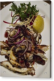 Griiled Fresh Greek Octopus Acrylic Print by David Smith