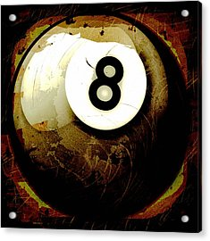 Grunge Style 8 Ball Acrylic Print by David G Paul