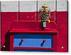 Gum Ball Machine On Red Desk Acrylic Print by Garry Gay