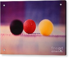 Gumballs On Placemat Acrylic Print by Christine Perry
