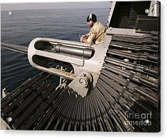 Gunner Manning A Mk-38 25mm Heavy Acrylic Print by Stocktrek Images