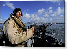 Gunners Mate Mans An M2 Hb .50-caliber Acrylic Print by Stocktrek Images