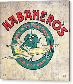 Habaneros Home Of The Flying Pepper Sign 3 Acrylic Print by Andee Design