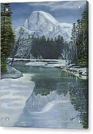 Half Dome Reflections Acrylic Print by Lana Tyler