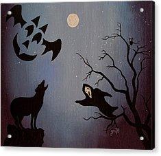 Halloween Night Party Original Painting Placemat Doormat Acrylic Print by Georgeta  Blanaru