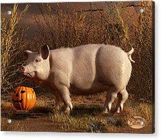 Halloween Pig Acrylic Print by Daniel Eskridge