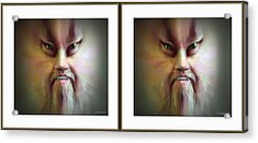 Halloween Self Portrait - Gently Cross Your Eyes And Focus On The Middle Image Acrylic Print by Brian Wallace
