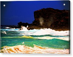 Halona Blowhole Acrylic Print by Cheryl Young