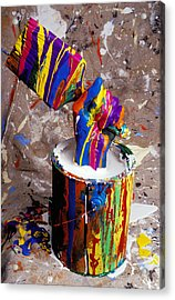 Hand Coming Out Of Paint Bucket Acrylic Print by Garry Gay