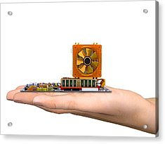 Hand With Computer Motherboard, Artwork Acrylic Print by Pasieka