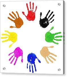 Hands Circle Acrylic Print by Richard Thomas