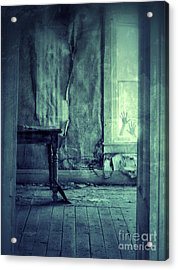 Hands On Window Of Creepy Old House Acrylic Print by Jill Battaglia