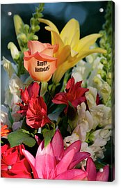 Happy Birthday Flowers - Portrait Acrylic Print by ShaddowCat Arts - Sherry