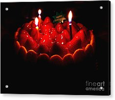 Happy Birthday Strawberry Charlotte Cake Acrylic Print by Wingsdomain Art and Photography