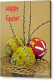 Happy Easter Greeting. Papier-mache Acrylic Print by Ausra Huntington nee Paulauskaite