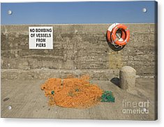 Harbor With Netting And Live Preservers Acrylic Print by Iain Sarjeant