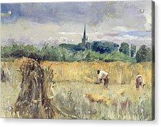 Harvest Field At Stratford Upon Avon Acrylic Print by John William Inchbold