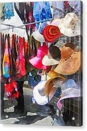 Hats And Purses At Street Fair Acrylic Print by Susan Savad