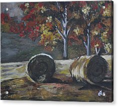 Hay Bales In Fall Acrylic Print by Kim Selig