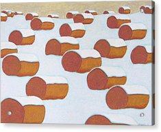 Hay Balesin Winter Acrylic Print by John  Turner