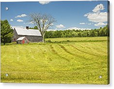 Hay Being Harvested Near Barn In Maine Acrylic Print by Keith Webber Jr