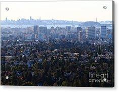 Hazy San Francisco Skyline Viewed Through The Oakland Skyline . 7d11341 Acrylic Print by Wingsdomain Art and Photography