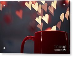 Heart In My Cup Of Coffee Acrylic Print by Soultana Koleska
